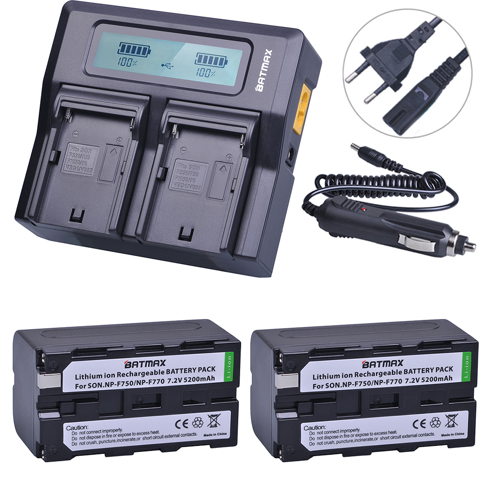 2Pcs 5200mAh NP-F750 NP-F770 NP F750 NP F770 Battery + Fast LCD Dual USB Charger for NP-F970 F550 NP-F960 F970 F950 NP F750 bat 4pc 7200mah np f960 np f970 f970 battery packs lcd ultra fast dual charger plug kits for sony np f550 np f770 np f750 f960 f970