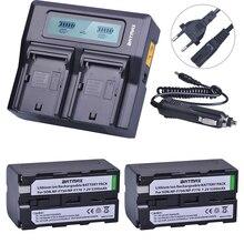 2Pcs 5200mAh NP-F750 NP-F770 NP F750 NP F770 Battery + Fast LCD Dual USB  Charger for NP-F970 F550 NP-F960 F970 F950 NP F750 bat