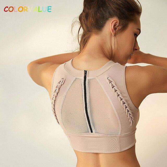 0aa74b9375 Colorvalue Top Quality Back Zipper Sport Bras Women Weave Design Fitness  Yoga Bra Anti-sweat High-Neck Dance Athletic Brassiere