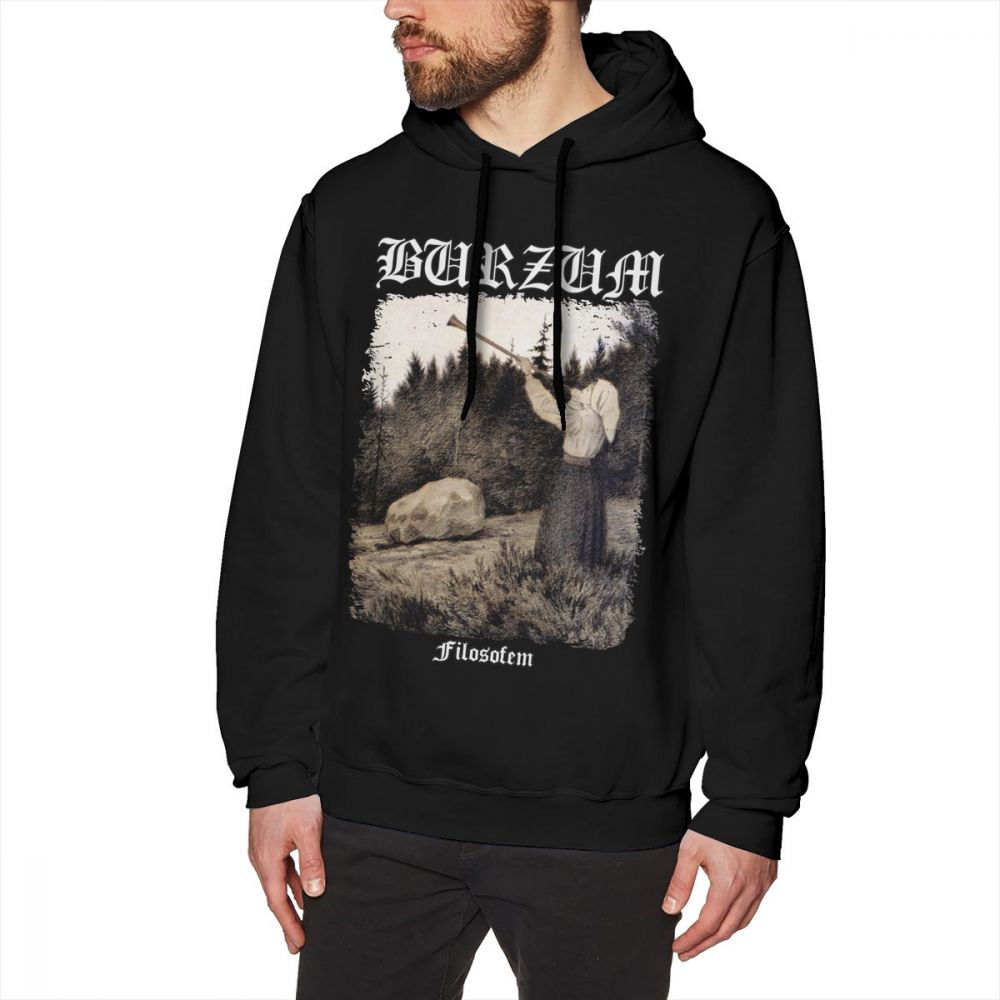 Burzum Hoodie Burzum - Filosofem Cover Ver2 Hoodies Long Length Cotton Pullover Hoodie Loose Big Cool Winter Mens Grey Hoodies
