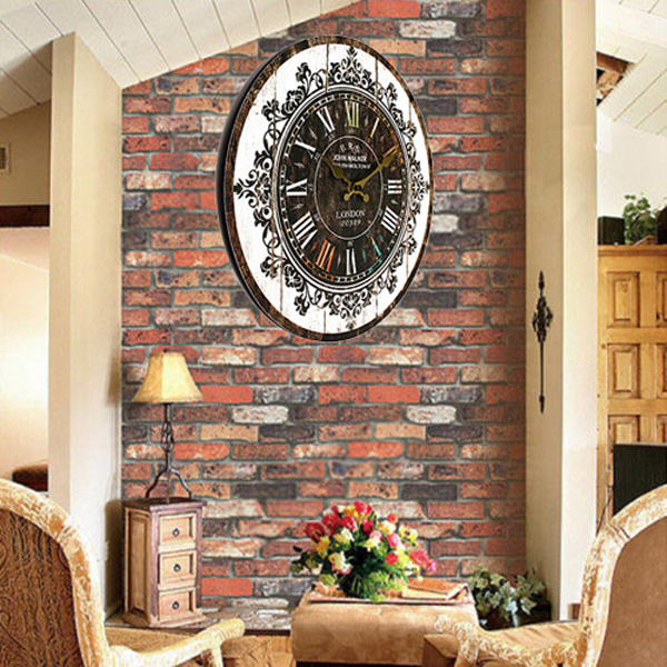 hot sales noiseless design wall clock tracery vintage rustic shabby chic home office cafe bar decoration chic vintage home office