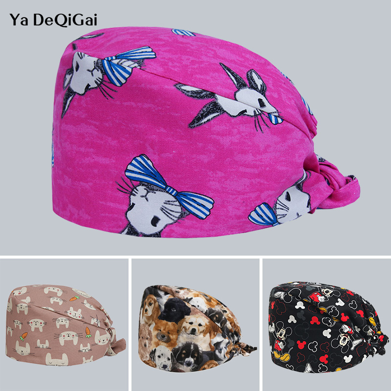 Breathable Cotton Adjustable Pet Hospital Cap Unisex Printed Dentistry Pharmacy Medical Surgical Cap Beauty Salon Hat Men&women