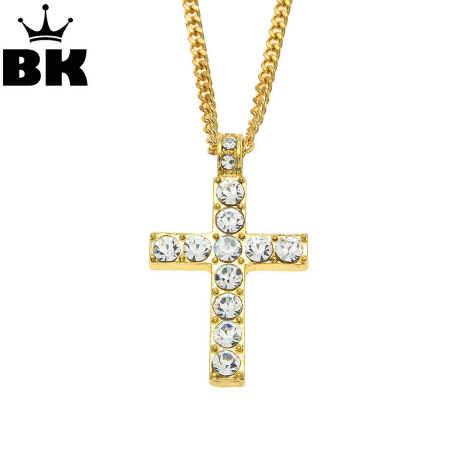 Hip Hop Alloy Gold Color Cross Pendant Necklace Religious Iced Out Rhinestone Crucfix Necklace Jewely For Men Free Cuban Chain