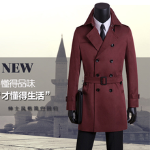 Free shipping double breasted overcoat men's clothing spring and autumn plus size casual male trench coat slim wine red S – 9XL