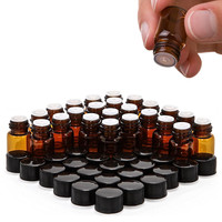Pack Of 24 2ml 5 8 Dram Tiny Amber Glass Sample Vial With Orifice Reducer Cap