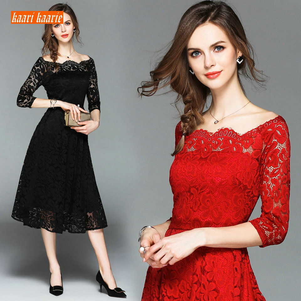Formal Women Dark Navy Lace Prom Dresses 2019 Sexy Banquet Red Short Evening Gowns Scoop Zipper Beach Guest Slim Fit Party Dress