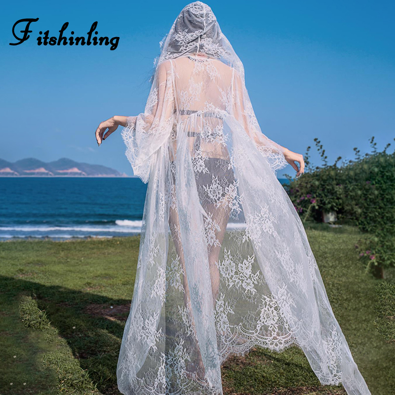 Fitshinling Summer lace beach cover-up swimwear see through long cardigan hooded flare sleeve kimono sexy hot bikini outer cover