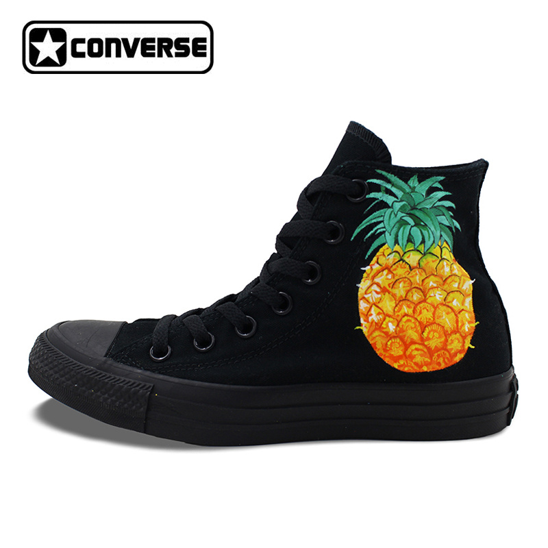 All Black Converse All Star Women Men Shoes Pineapple Original Design Hand Painted High Top Canvas Sneakers Birthday Gifts men women s converse all star shoes high top lace up flats design five food recipes on white canvas sneakers gifts