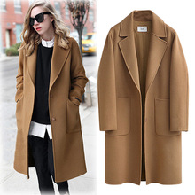 SWYIVY Womens New Woolen Coat Long Casual Loose Thick Wool Fashion Lapel Straight Autumn And Winter