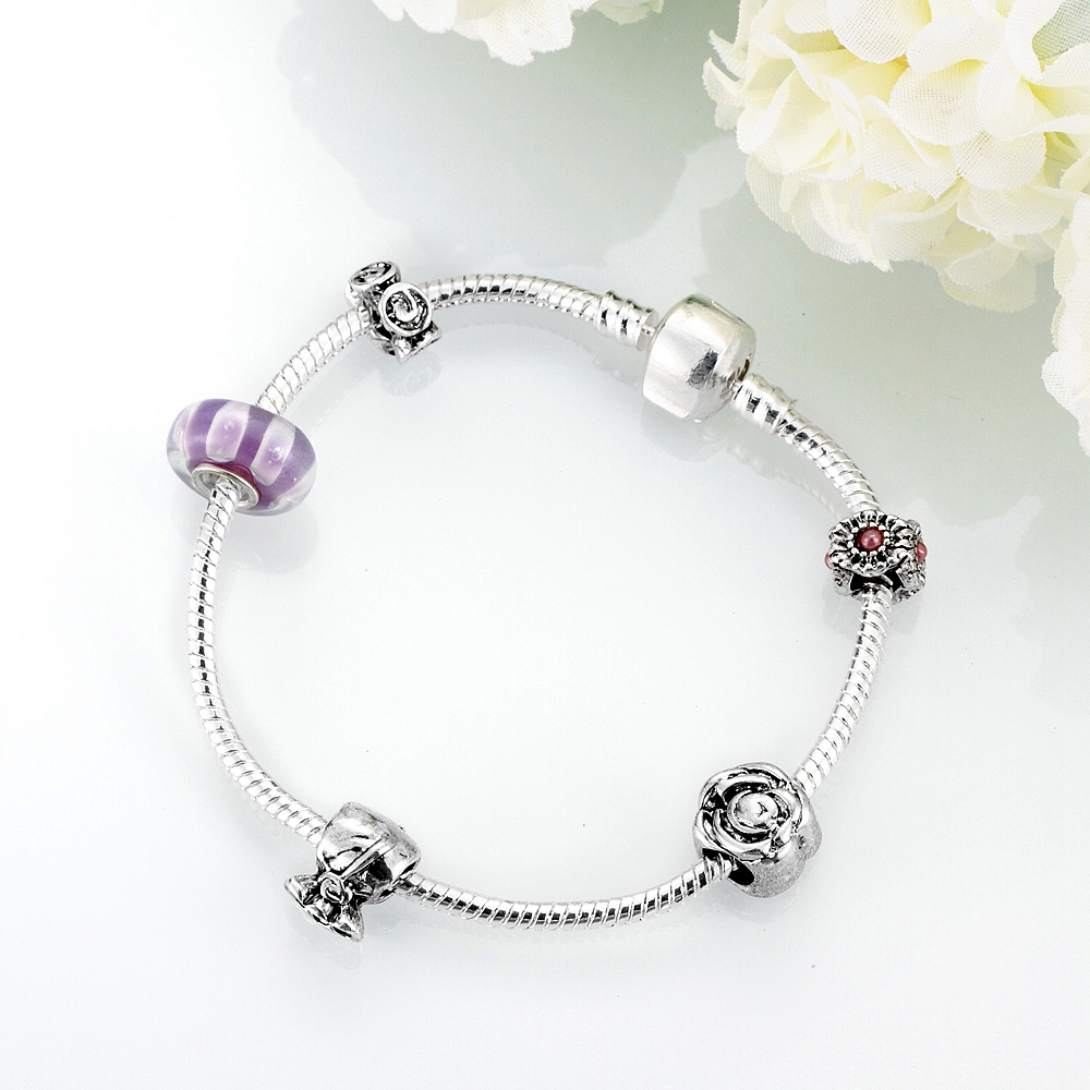HERMOSA jewelry New Fashion Simple charming beautiful Bead DIY Removable plating silver woman Bracelet 20cm PDRH020