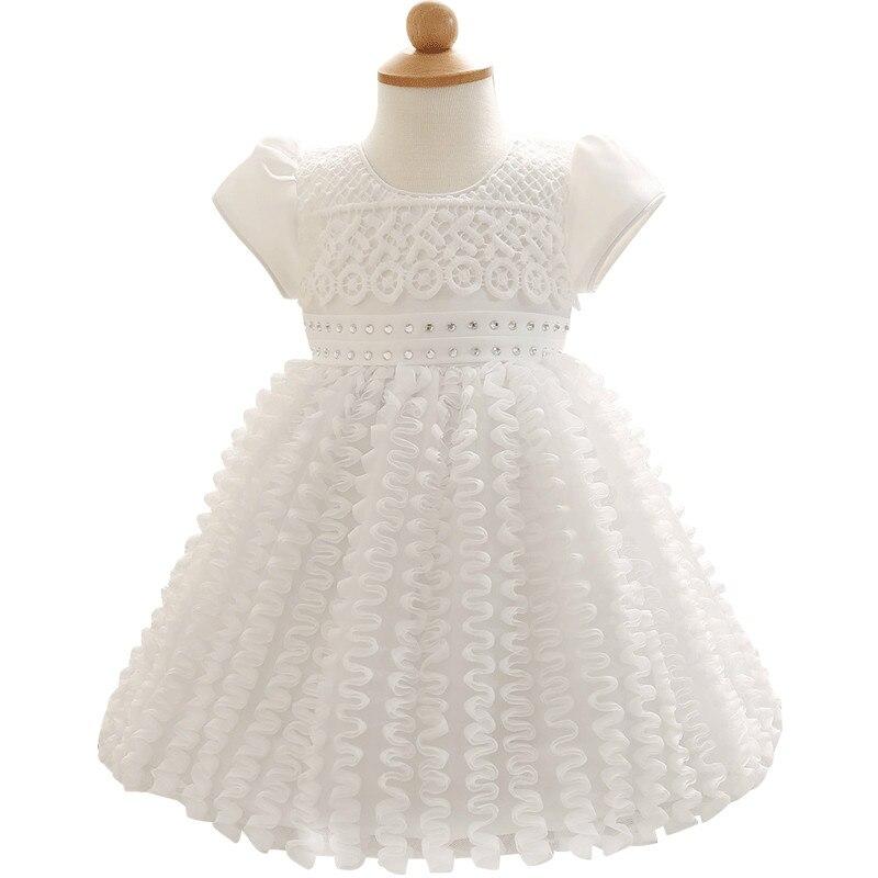 Newborn 1st First Baby Girl Birthday Dress Infant White