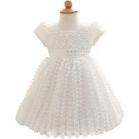 Recién nacido primero primer cumpleaños de la niña dress infantil blanco litttle dress bebé girl dress party vestido de novia tamaño 3 6 9 12 24 meses