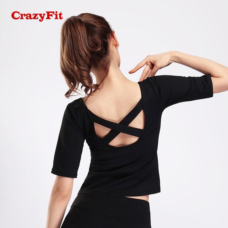 CrazyFit Cross Straps Ballet Shirt Women 2018 Yoga Top Fitness T-shirt Backless Running Workout Gym Short Sleeve Female Clothing