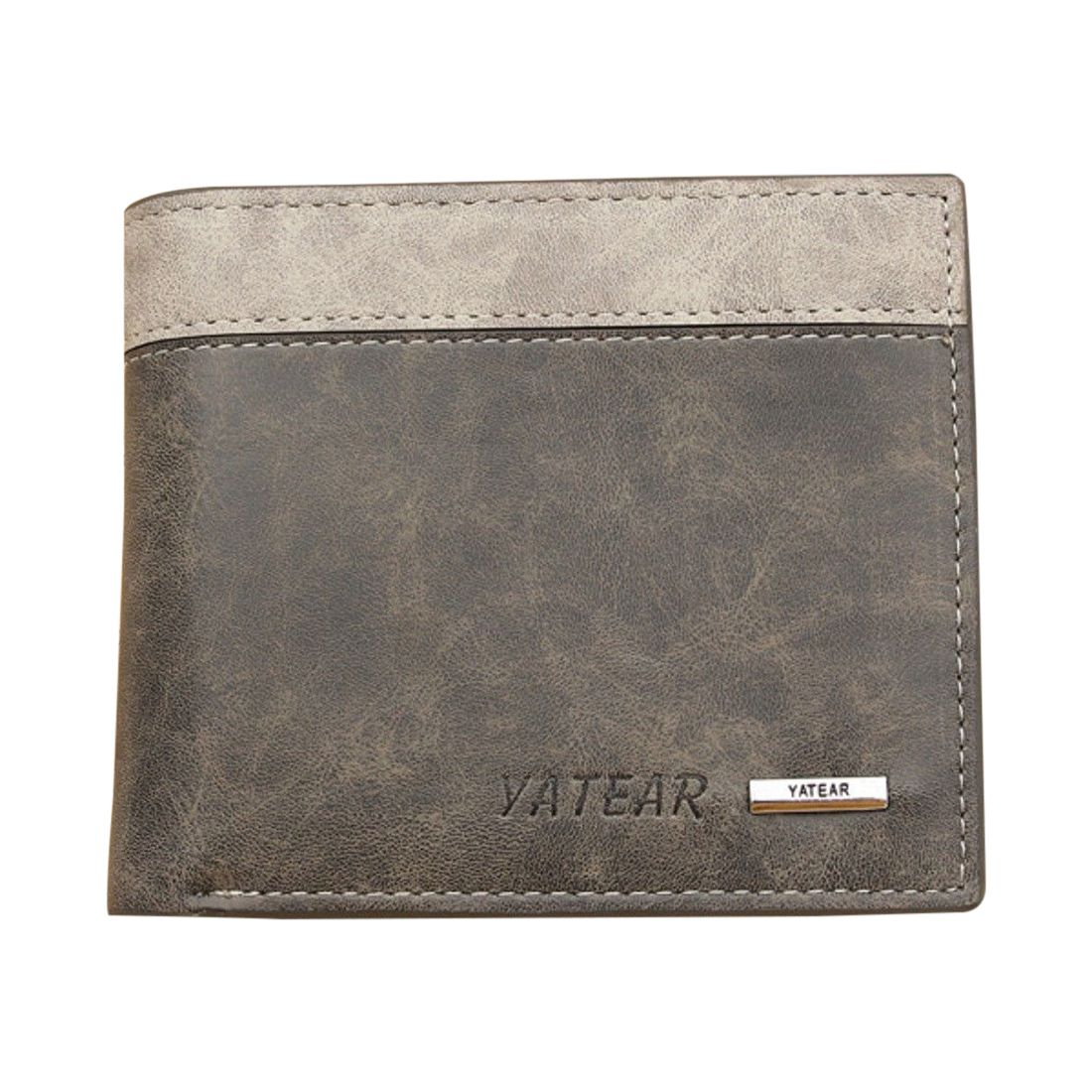 ASDS Mens Luxury Soft Quality Leather Wallet Credit Card Holder Purse ID Window Grey leather slim credit card holder id card case holder useful purse with neck strap