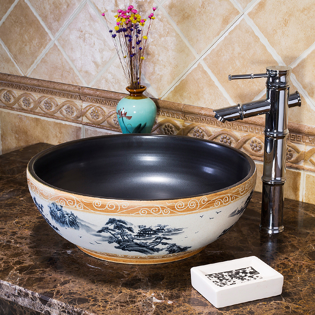 Us 277 0 Jingdezhen Wash Basin Porcelain Bathroom Sinks Bowl Factory Directly Art Hand Painted Ceramic Hair Sink In From Home