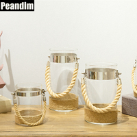 Peandim European Pillar Glass Candle Holder Hemp Rope Around Candlestick Wedding Tealight Candelabra Home Decoration Accessories