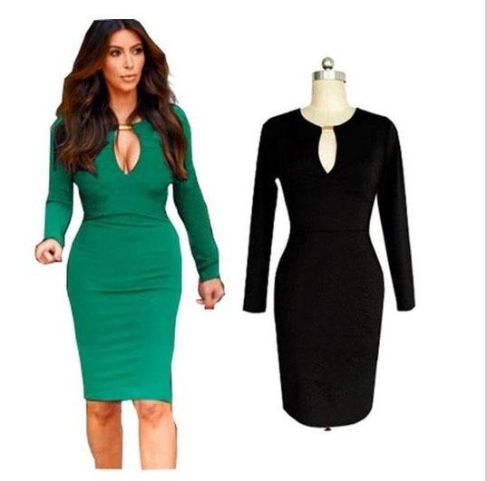 fb14348be7 Miód moda feminina sukienki modne kobiety sexy metalowa klamra kolano  długość bodycon wrap sukienka z długim rękawem sukienka ołówkowa