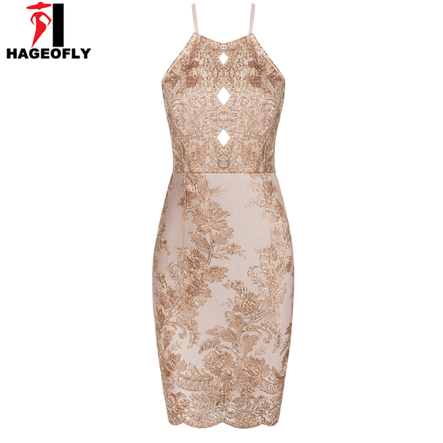 31cd7cb5e2e0be Hageofly Embroidery Spaghetti Stap Dresses Jurken Women Apricot Sheath  Sleeveless Hollow Out Lace O-Neck Summer Dresses Ukraine