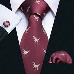 2018 Новое поступление Для мужчин галстуки с принтом динозавра красный Для мужчин s свадебные галстуки 8,5 см галстук Бизнес шелковые галстуки