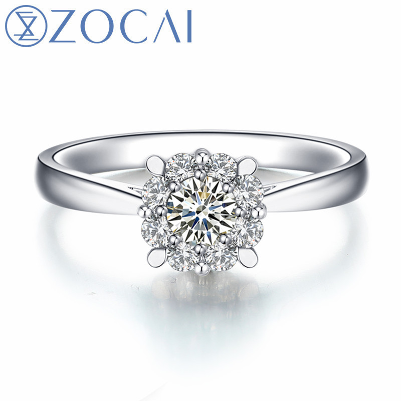 ZOCAI New Arrived Engagement/Wedding Ring Real Certificated 0.08 CT H/SI Diamond Ring 18K White Gold(AU750) Women Ring W80152T new pure au750 rose gold love ring lucky cute letter ring 1 13 1 23g hot sale