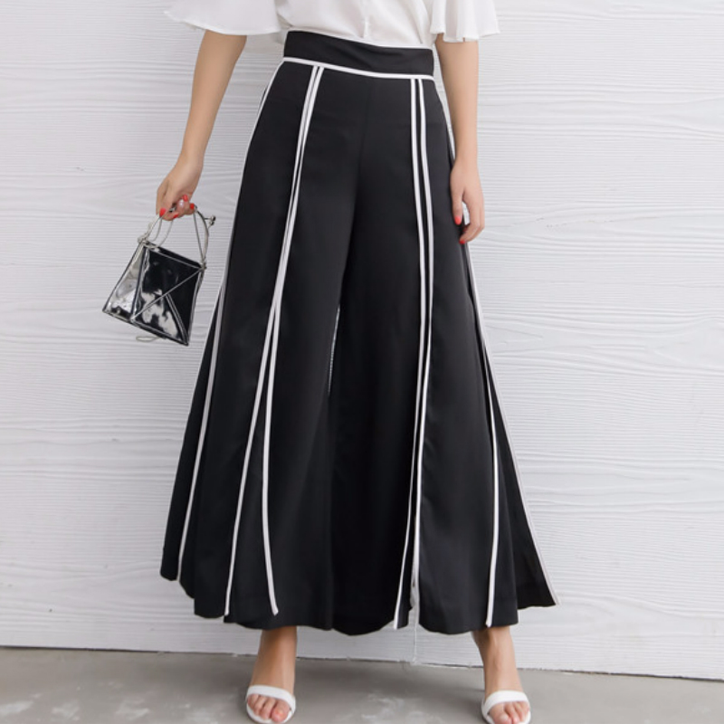 High waist wide leg   pants     capri   for women 2018 summer autumn loose split up hit color   pants   skirts women's trousers female