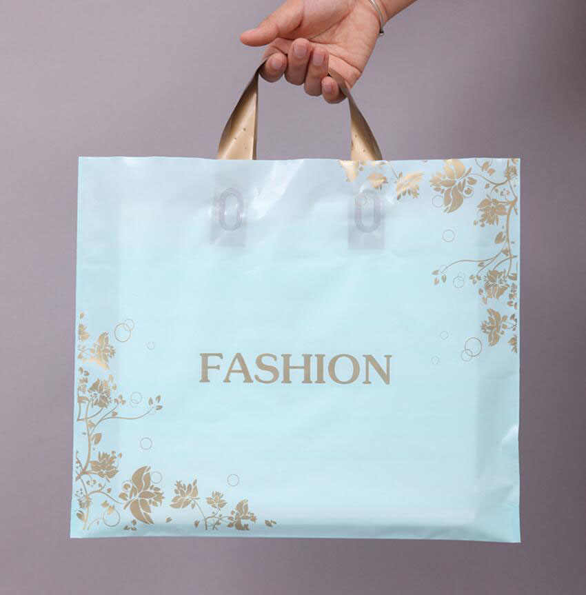 50 Pcs Green Fashion Thick Plastic Clothes Gift Packaging Bag with Golden Handle, for Clothes Shoes Gift Shop