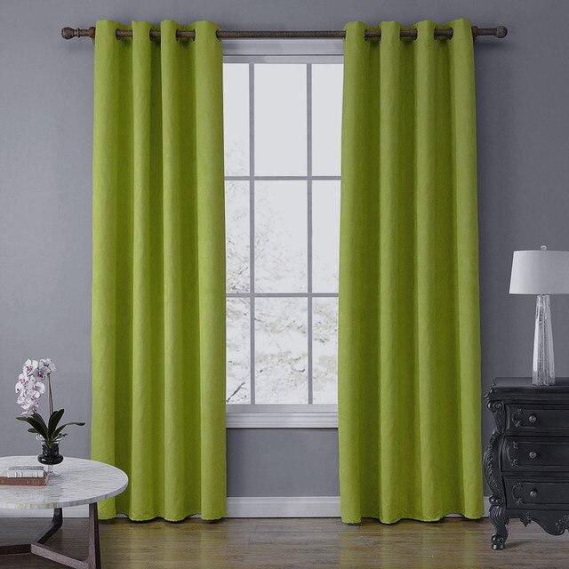 SunnyRain 1-Piece замшевая ткань зеленая занавеска s для гостиной шторы с частичной светоизоляцией для занавески в спальню топ с ушком cotinas