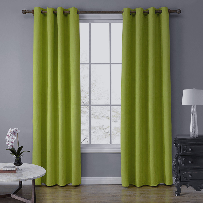 SunnyRain 1 Piece Suede Fabric Green Curtains For Living Room Semi Blackout Curtain For Bedroom Drapes Top With Eyelet cotinas in Curtains from Home Garden