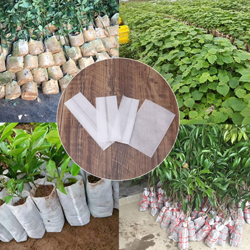 Hot 100pcs Nursery Pots Seedling Raising Bags Non Woven Fabrics Garden Supplies   Height 9.8cm
