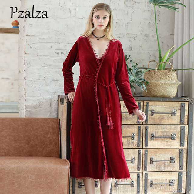 Winter Robes Long Kimono Warm Velour Bathrobe Lace Belt Elegant Bath Bride Robe  Women Gowns Kimono Bride Black Red M L XL 7640de1c8e