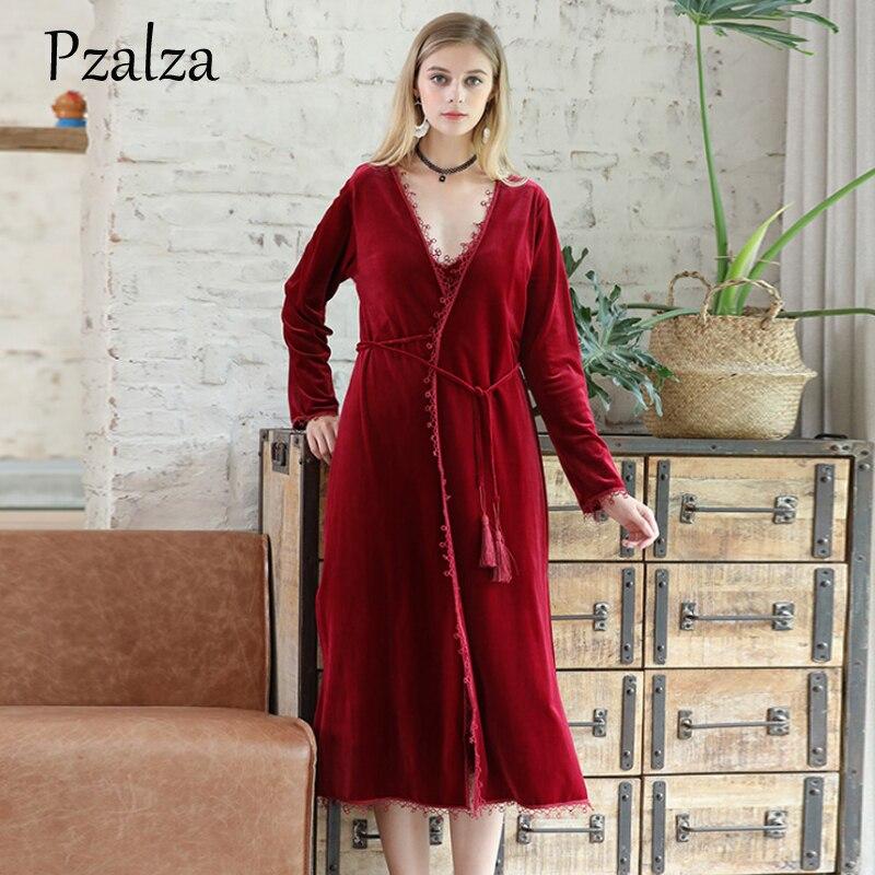 Winter Robes Long Kimono Warm Velour Bathrobe Lace Belt Elegant Bath Bride Robe Women Gowns Kimono Bride Black Red M L XL