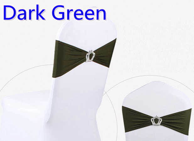 Dark Green Colour Crown Buckle Lycra Sash For Wedding Chairs