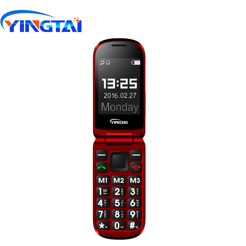 YINGTAI T09 Best feature phone GSM Big push-button flip phone Dual Screen clamshell 2.4 inch Elder telephone cell phones FM MP3 feature phone