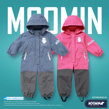Moomin Muumi Spring baby girls rompers Polyester Covered zipper jumpsuit Turn-down Collar customs  Character Pink