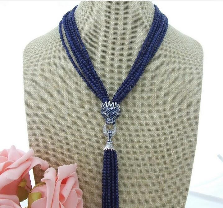 beautiful 187 row Blue bead Necklace CZ Pendant bead bar layered pendant necklace page 7