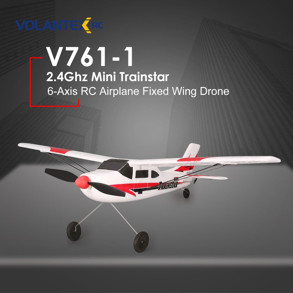 VOLANTEX V761-1 2.4Ghz 3CH Mini Trainstar 6-Axis Remote Control RC Airplane Fixed Wing Drone Plane RTF For Kids Gift Present Z