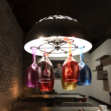 RH Loft Style Iron LED Pendant Light Fixtures American Industrial Vintage Lighting For Dining Room Wine Glass Hanging Lamp american loft style creative ellipse iron led pendant light fixtures vintage industrial lighting for dining room hanging lamp