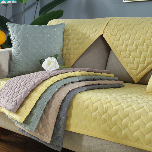 Solid Color Korean Sofa Slipcover Towel Simple Fresh Washed Cotton Sofa Cushion Four Seasons Thick Sofa Covers For Living Room