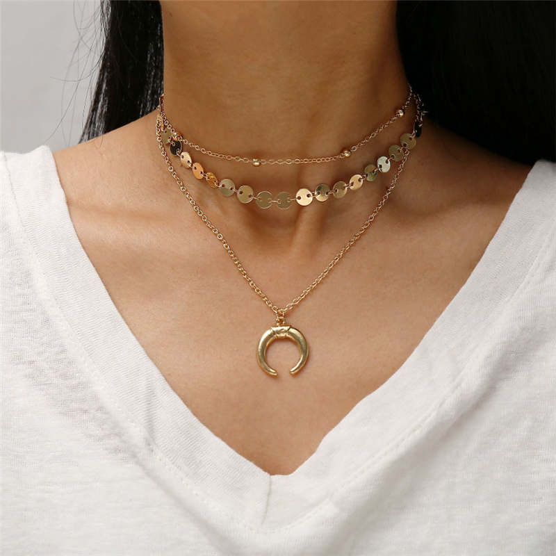 2019 Hot Silver//Gold Plated Circle//Ring Link Chain Choker Collier Girls Necklace