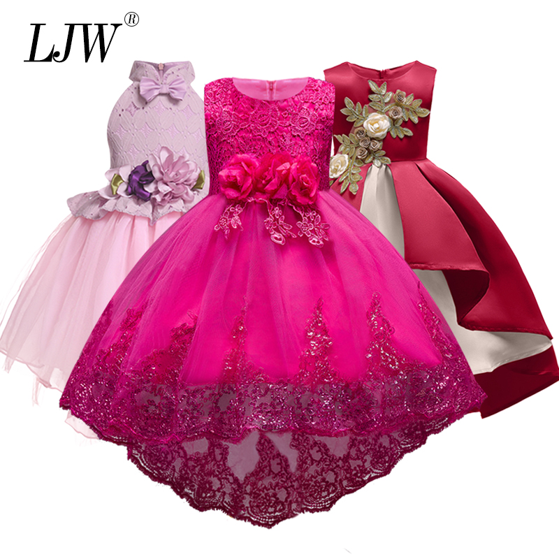High Quality Lace vestido Girls Sleeveless Princess Children flower girl dress For Wedding 2-12 Years Girls Trailing Party Prom 2017 new girls party baby children summer sleeveless lace princess wedding dress 2 4 6 8 10 year old fashion flower girls dress