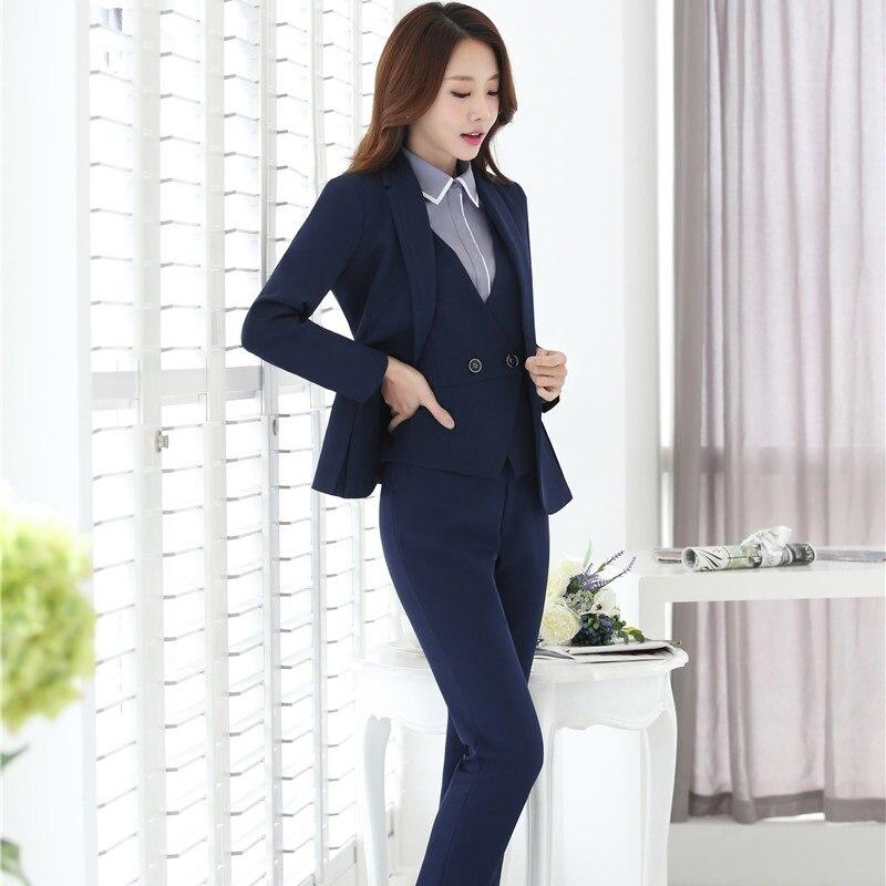 Ladies Business Professional Blazers With 4 Pieces Jackets + Pants + Vest + Blouse For Ladies Pants Suits Pantsuits Plus Size