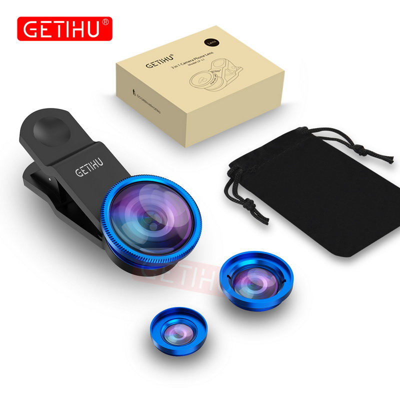 Universal Fisheye Lens 3 in 1 Mobile Phone Clip Lenses Fish Eye Wide Angle Macro Camera Lens for Smartphone iPhone 6 Microscope 12