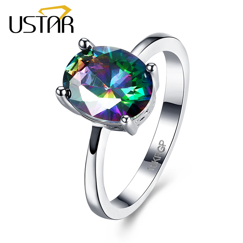 USTAR NEW Oval Colour AAA Zircon Wedding Rings for women Silver Color Engagement Rings female anel party gift top quality