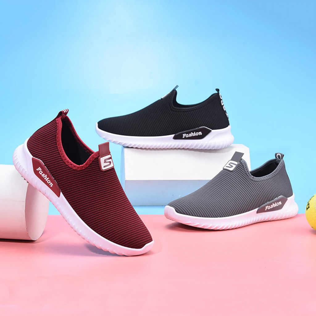 2019 ผู้หญิงสุภาพสตรี Casual Loafers เดินรองเท้าผ้าใบสบายๆลื่นรองเท้าตาข่ายยืดผู้ชาย Casual รองเท้า Lac- up รองเท้าผู้ชาย