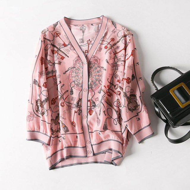 Jacket Women 100% Silk Faric Printed V Neck Three Quearter Sleeves Zipper Casual Design Sunscreen Clothing 2019 New Fashion