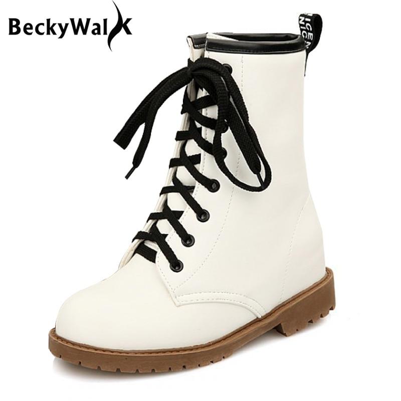 Damenstiefel Knöchel-boots Winter Martin Stiefel Für Frauen Lace-up Mittler-kalb-reine Schnee Stiefel Wasserdicht Candy Farbe Warme Schuhe Frau Plus Größe 34-43 Wsh2172