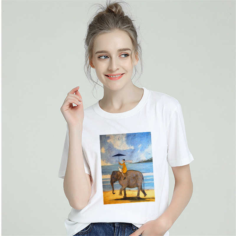 Harajuku Aesthetic Tshirt Women Cotton 2019 Happy Funny T-shirt Female Short Sleeve Plus Size White T Shirt Sexy Tumblr Top Tees