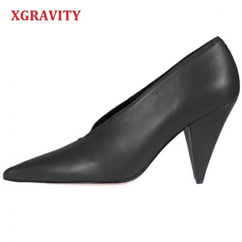 XGRAVITY European American Genuine Leather Spring Autumn Fashion Women High Heel Pumps Sexy Crystal V Design