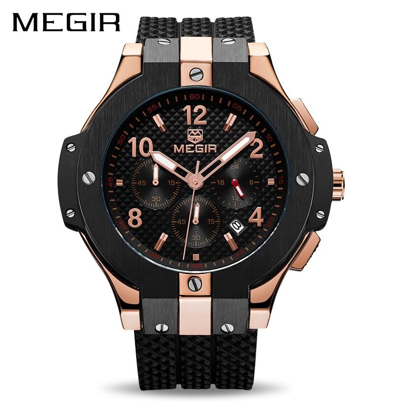MEGIR Хронограф Спортивные часы для мужчин творческий большой циферблат армия военная Униформа повседневные часы для мужчин наручные ч...