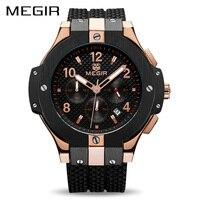 MEGIR Chronograph Sport Watch Men Creative Big Dial Army Military Quartz Watches Clock Men Wrist Watch
